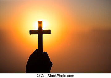 god., 自然, 十字架像, シルエット, 背景, 危機, faith., 祈ること, 祈とう, 日の出, 生活, 交差点, 女, シンボル, キリスト教徒, 手