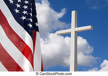 God and Country - United States flag with Cross indicating...