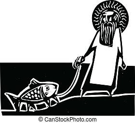 God and Darwin - God taking a walk with a Darwin legged...