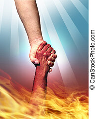 God and Devil - God making a pact with the Devil shaking...