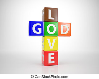 God and Love out of Letterdices 1 - Multicolored Dices in...