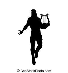 God Apollon lyre silhouette ancient mythology fantasy.
