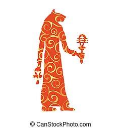 God Bastet cat egyptian pattern silhouette ancient egypt