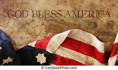 God Bless America. Flag and Wood