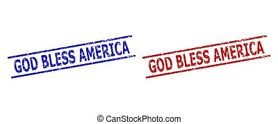 GOD BLESS AMERICA Stamps with Unclean Style and Parallel Lines