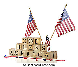 """Three American flags flying over rustic alphabet blocks that spell out """"God Bless America"""". Isolated on white."""