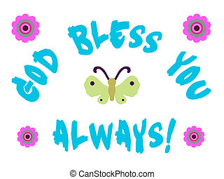 God bless you sign with butterfly and flowers.