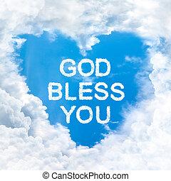 god bless you word on blue sky inside heart cloud form