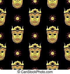 god., children., マスク, 金, pattern., 背景, 黒, 太陽, harpy, マジック