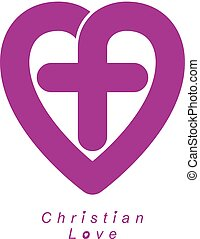 God Christian Love conceptual logo design combined with...