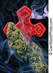 (god, détail, sur, strain), marijuana, isolé, cannabis, noir, séché, fond, nugs, bourgeon