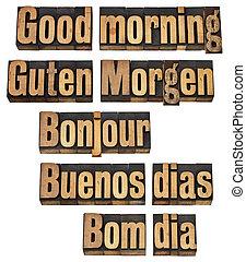 god dag, in, fem, språk