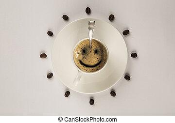 god dag, kaffe, le, kopp, på, trä, bakgrund