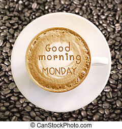 god dag, måndag, på, het kaffe, bakgrund