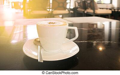 god dag, med, het kaffe