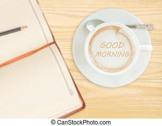 god dag, på, kaffe kopp