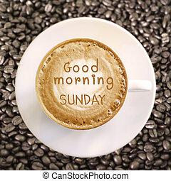 god dag, söndag, på, het kaffe, bakgrund