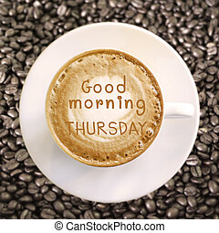 god dag, torsdag, på, het kaffe, bakgrund