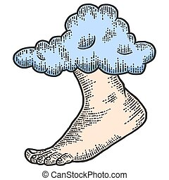 God footsteps out of the cloud. Engraving vector illustration.