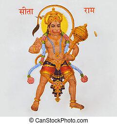 god, hanuman, beeld, hindoe