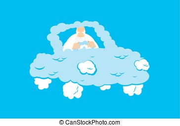 God in Cloud car. Almighty in auto from clouds. deity in...