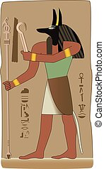 God in vector with egyptian symbol - Anubis invented...
