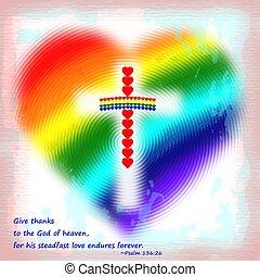 a rainbow heart cross
