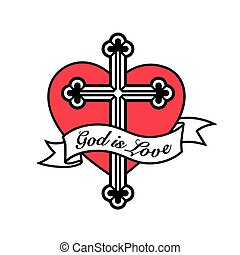 God is Love - Heart with Christian cross crucifix design.