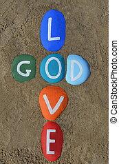 God is love, multicolored stones
