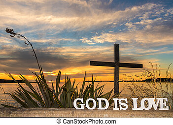 God is Love Sunset Waters