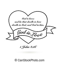God is Love with heart and banner. Vector design.