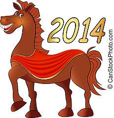 god jul, häst, på, a, vit fond