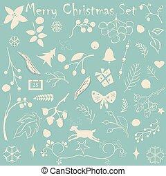 god jul, kollektion, med, olika, helgdag, elements., pastell, beige., designer's, utrustning, för, skapande, enkel, en, subtil, designs., vektor, illustration