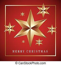 god jul, kort, gyllene, stor stjärna, med, röd fond