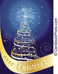 god jul, kort, med, julgran, och, stjärnor
