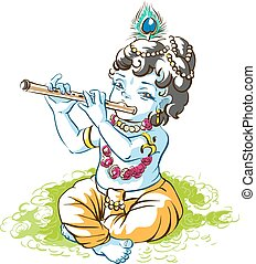 God Krishna Janmashtami. Boy shepherd playing flute. Vector...