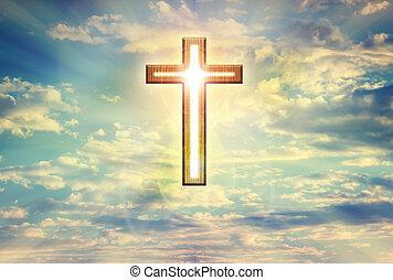 God light trough crucifix form on dreamy clouds blue sky, believe, hope ,trust,heaven and God background