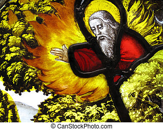 God the Creator giving his blessing in an image on a medieval 16th century stained glass window panel from the Abbey of Mariawald in Germany