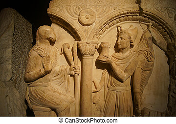 God Mithra - Marmara relief (part of the sarcophagus) with...