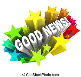 god nyhed, kundgørelse meddelelse, gloser, ind, stjerner