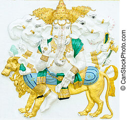 God of success 11 of 32 posture. Indian style or Hindu God Ganesha avatar image in stucco low relief technique with vivid color, Wat Samarn, Chachoengsao, Thailand.
