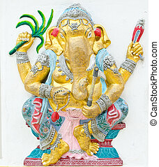 God of success 15 of 32 posture. Indian style or Hindu God Ganesha avatar image in stucco low relief technique with vivid color, Wat Samarn, Chachoengsao, Thailand.