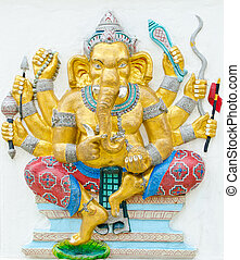 God of success 16 of 32 posture. Indian style or Hindu God Ganesha avatar image in stucco low relief technique with vivid color, Wat Samarn, Chachoengsao, Thailand.