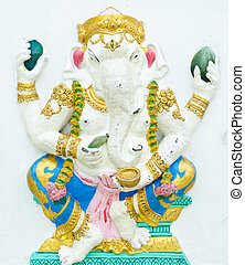 God of success 3 of 32 posture. Indian style or Hindu God Ganesha avatar image in stucco low relief technique with vivid color, Wat Samarn, Chachoengsao, Thailand.
