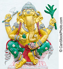 God of success 7 of 32 posture. Indian style or Hindu God Ganesha avatar image in stucco low relief technique with vivid color, Wat Samarn, Chachoengsao, Thailand.