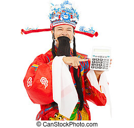 God of wealth pointing a compute machine