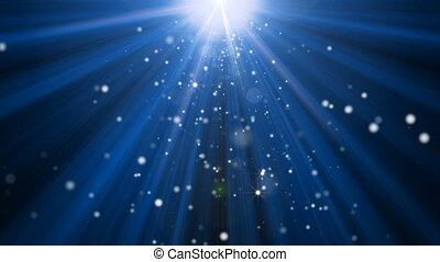 A tranquil scene with shining rays of lights and twinkling stars that rain down towards the camera.