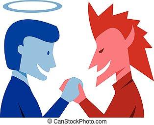 god, samen, kwaad, vector, handen te schudden