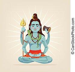God Shiva character sitting in lotus position. Vector flat cartoon illustration