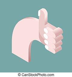 god stemning, viser, oppe, hånd, isometrics., 3d., ok., symbol, tommelfinger